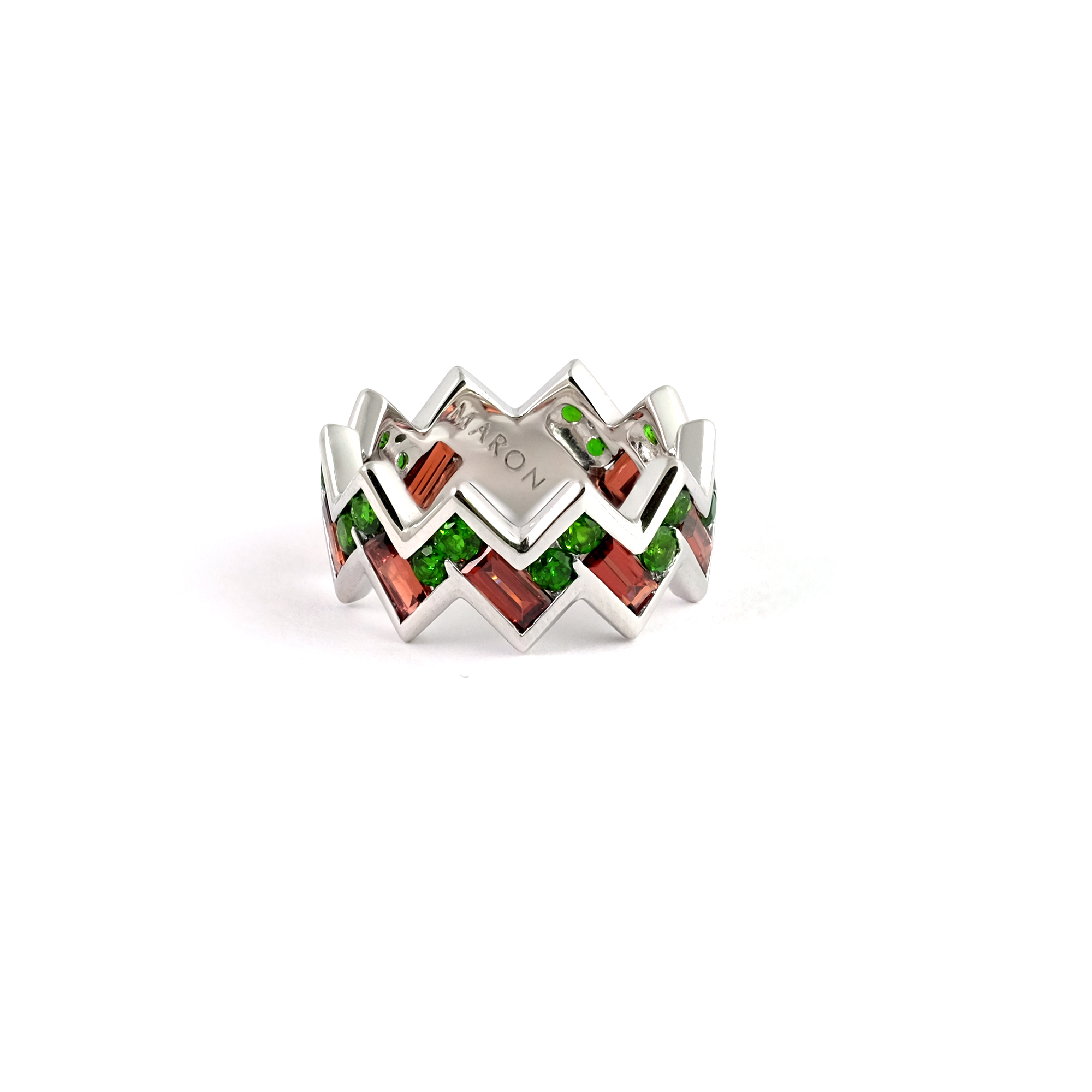 Array - urban zigzag ring with chrome diopside and red garnet  rh   maronjewelry com