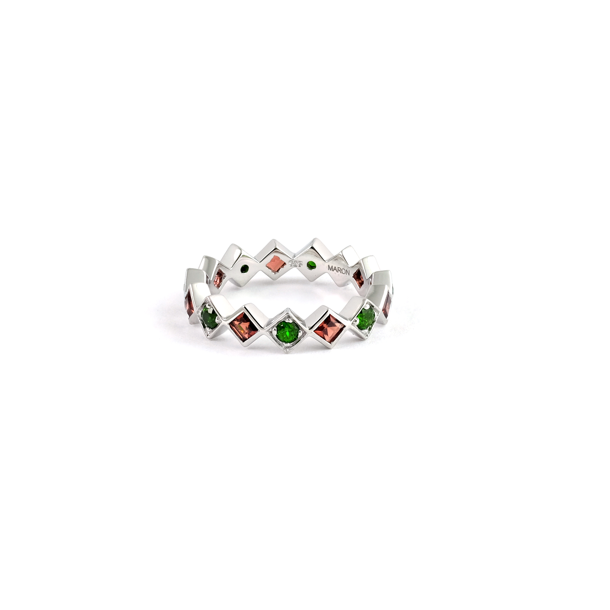 Array - urban square eternity ring with chrome diopside and red garnet  rh   maronjewelry com