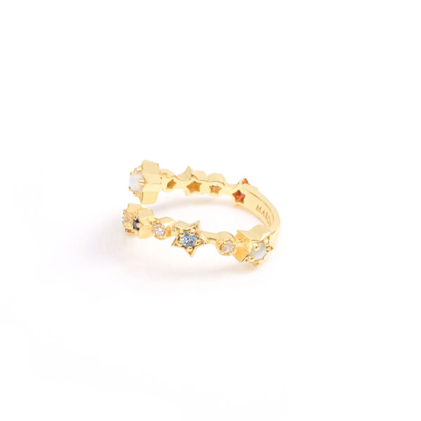 Nine Lucky Stars Cross Ring (Yellow Gold)